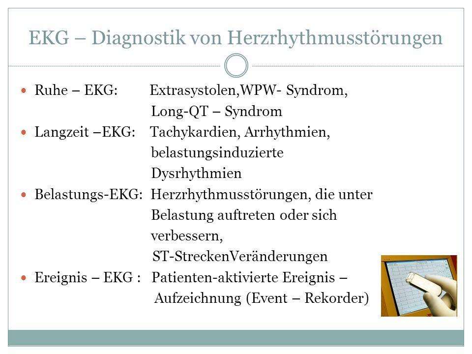 EKG – Diagnostik von Herzrhythmusstörungen Ruhe – EKG: Extrasystolen,WPW- Syndrom, Long-QT – Syndrom Langzeit –EKG: Tachykardien, Arrhythmien, belastu