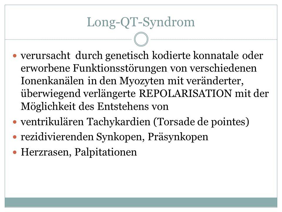 Long-QT-Syndrom verursacht durch genetisch kodierte konnatale oder erworbene Funktionsstörungen von verschiedenen Ionenkanälen in den Myozyten mit ver