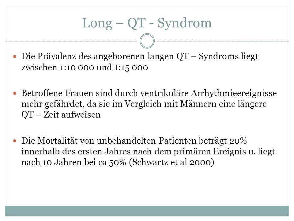 Long – QT - Syndrom Die Prävalenz des angeborenen langen QT – Syndroms liegt zwischen 1:10 000 und 1:15 000 Betroffene Frauen sind durch ventrikuläre