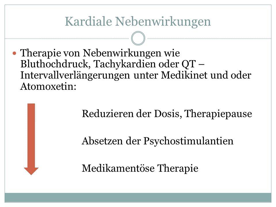 Kardiale Nebenwirkungen Therapie von Nebenwirkungen wie Bluthochdruck, Tachykardien oder QT – Intervallverlängerungen unter Medikinet und oder Atomoxe