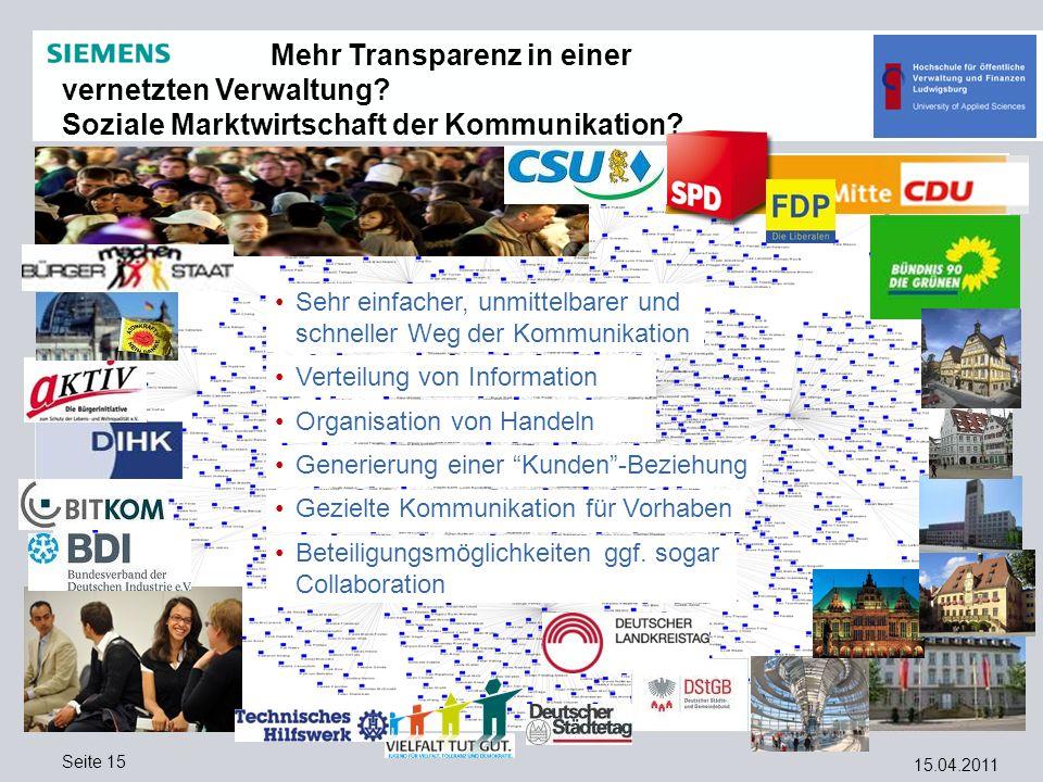 15.04.2011 Seite 15 Mehr Transparenz in einer vernetzten Verwaltung? Soziale Marktwirtschaft der Kommunikation? Sehr einfacher, unmittelbarer und schn