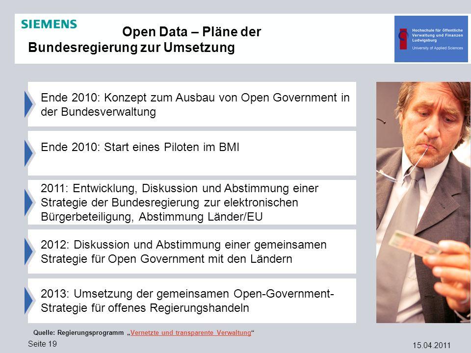 15.04.2011 Seite 19 2012: Diskussion und Abstimmung einer gemeinsamen Strategie für Open Government mit den Ländern Ende 2010: Konzept zum Ausbau von