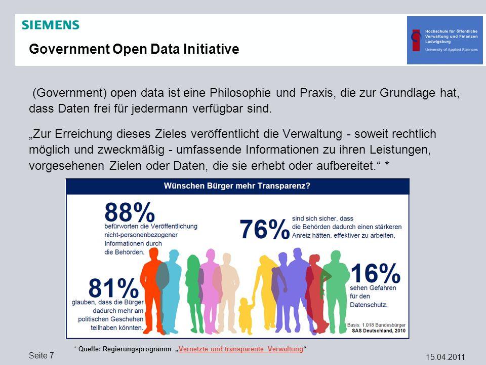 15.04.2011 Seite 7 Government Open Data Initiative (Government) open data ist eine Philosophie und Praxis, die zur Grundlage hat, dass Daten frei für