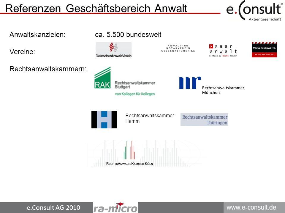 e.Consult AG 2010 Referenzen Geschäftsbereich Anwalt Rechtsanwaltskammer Hamm Anwaltskanzleien: ca.