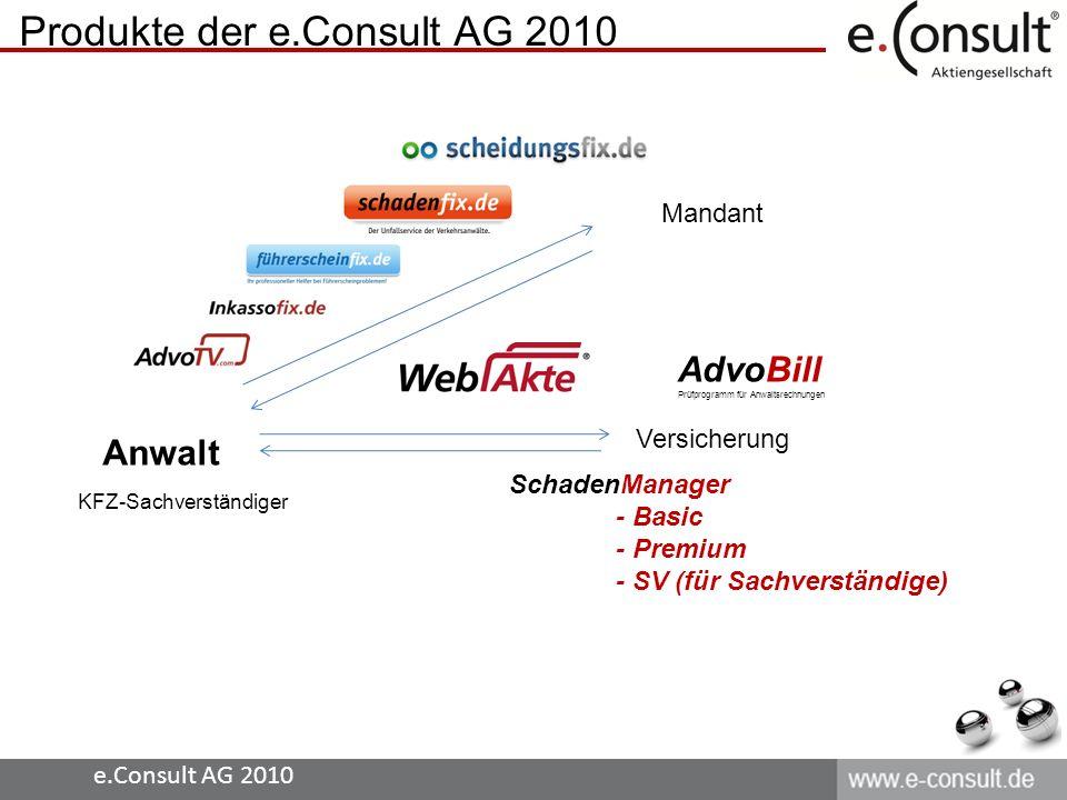 Produkte der e.Consult AG 2010 Anwalt Mandant Versicherung SchadenManager - Basic - Premium - SV (für Sachverständige) KFZ-Sachverständiger AdvoBill P