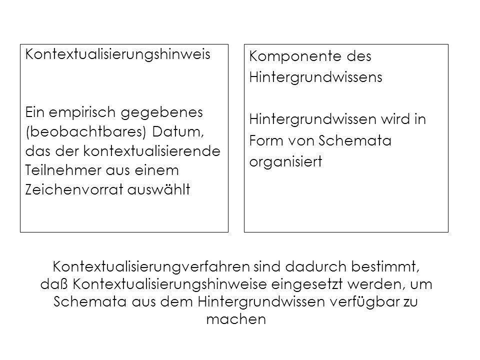 Kontextualisierungverfahren sind dadurch bestimmt, daß Kontextualisierungshinweise eingesetzt werden, um Schemata aus dem Hintergrundwissen verfügbar