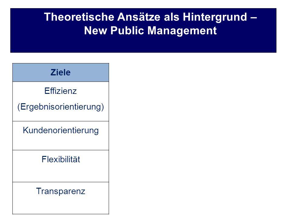 Theoretische Ansätze als Hintergrund – New Public Management ZieleProzesse Effizienz (Ergebnisorientierung) Privatisierung Liberalisierung Steuerreform Fiskale Reform Dezentralisierung Wettbewerb Modernisierung Kundenorientierung Flexibilität Transparenz