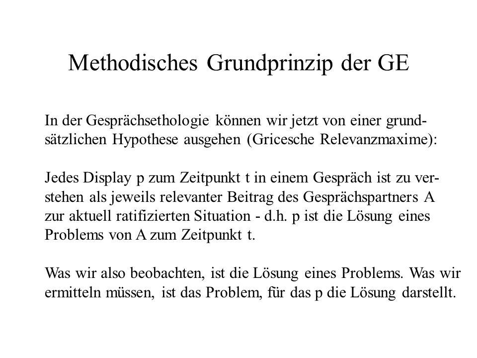 Methodisches Grundprinzip der GE In der Gesprächsethologie können wir jetzt von einer grund- sätzlichen Hypothese ausgehen (Gricesche Relevanzmaxime):