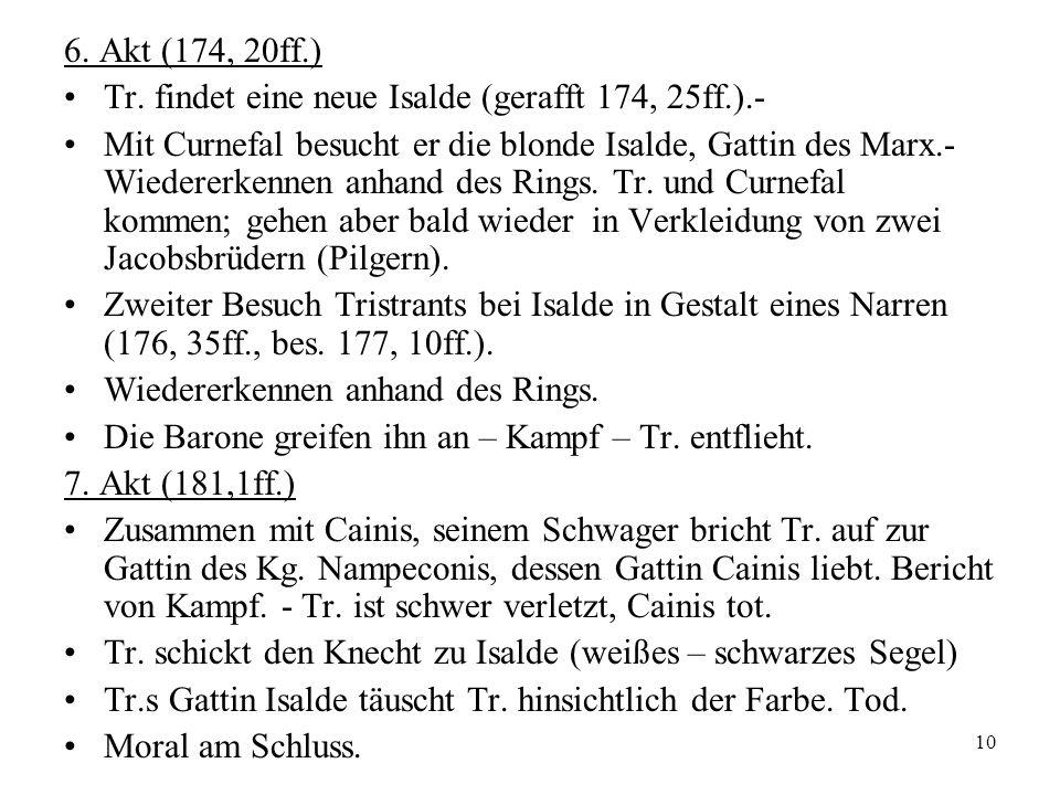 10 6. Akt (174, 20ff.) Tr. findet eine neue Isalde (gerafft 174, 25ff.).- Mit Curnefal besucht er die blonde Isalde, Gattin des Marx.- Wiedererkennen