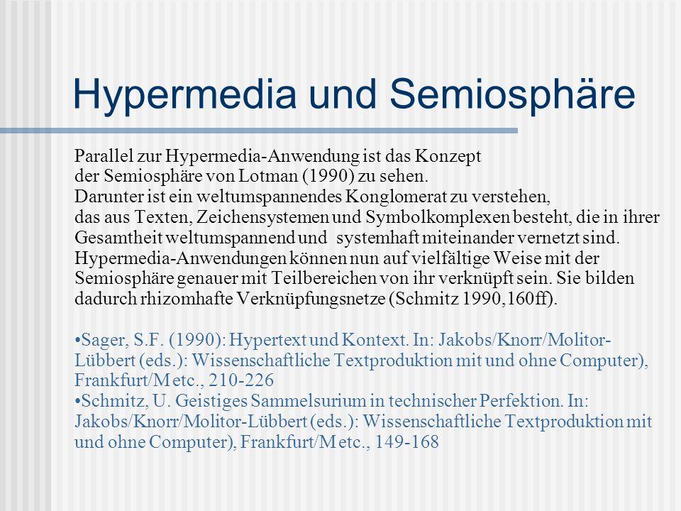 Hypermedia und Semiosphäre Parallel zur Hypermedia-Anwendung ist das Konzept der Semiosphäre von Lotman (1990) zu sehen. Darunter ist ein weltumspanne