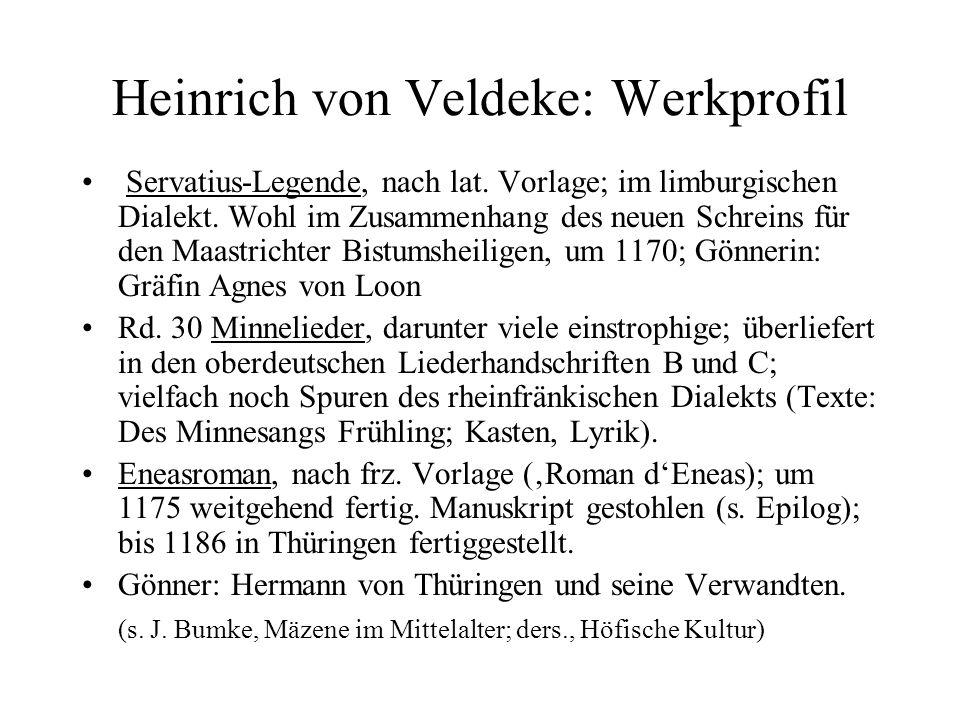 Heinrich von Veldeke: Werkprofil Servatius-Legende, nach lat.
