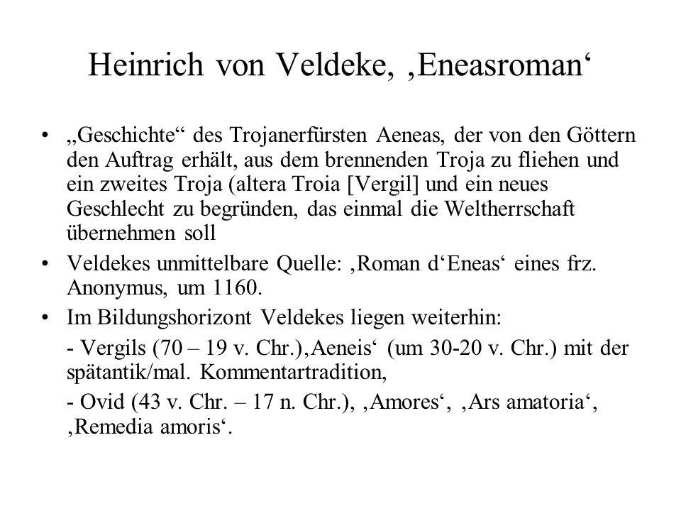 Heinrich von Veldeke, Eneasroman Geschichte des Trojanerfürsten Aeneas, der von den Göttern den Auftrag erhält, aus dem brennenden Troja zu fliehen und ein zweites Troja (altera Troia [Vergil] und ein neues Geschlecht zu begründen, das einmal die Weltherrschaft übernehmen soll Veldekes unmittelbare Quelle: Roman dEneas eines frz.