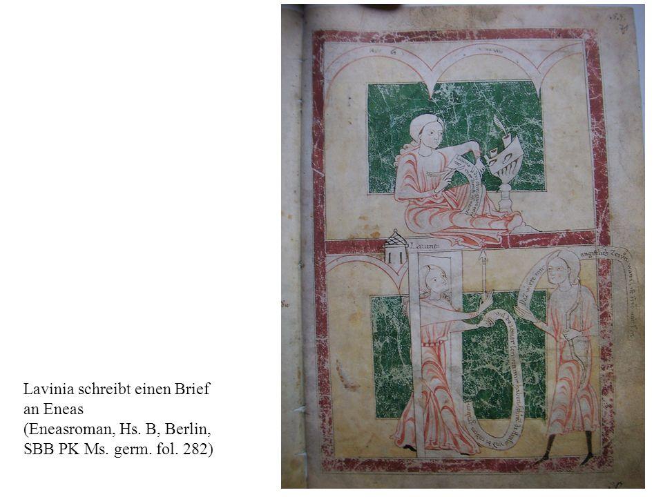 Lavinia schreibt einen Brief an Eneas (Eneasroman, Hs. B, Berlin, SBB PK Ms. germ. fol. 282)