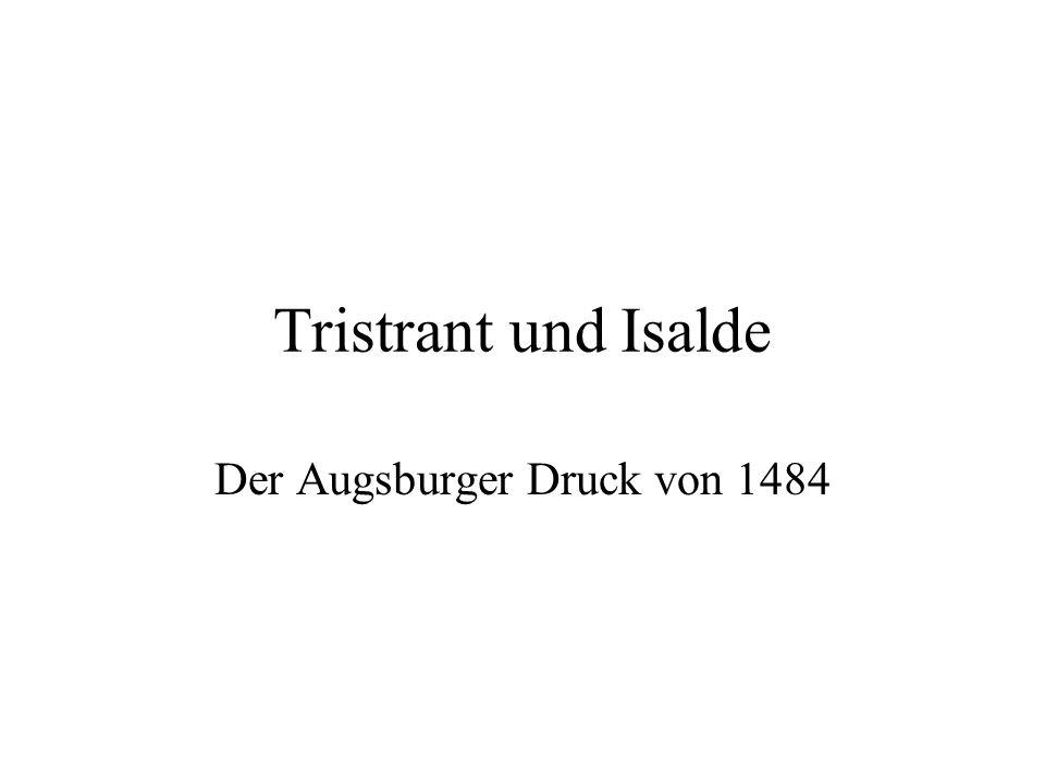 Prosaroman Tristrant und Isalde (1484): Tristans Abschied von König Artus(??) (Bildtyp wie bei Hochzeit Riwalin/Blanscheflur und Hochzeit Tristrant/Isalde Weißhand).