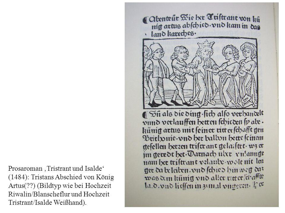 Prosaroman Tristrant und Isalde (1484): Tristans Abschied von König Artus(??) (Bildtyp wie bei Hochzeit Riwalin/Blanscheflur und Hochzeit Tristrant/Is