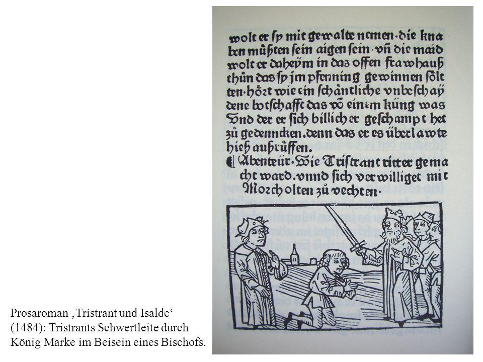 Prosaroman Tristrant und Isalde (1484): Tristrants Schwertleite durch König Marke im Beisein eines Bischofs.