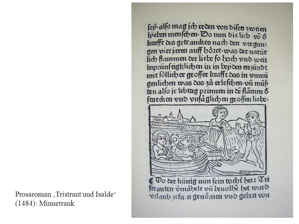 Prosaroman Tristrant und Isalde (1484): Isaldes Liebesleid; Brangel als Trösterin.