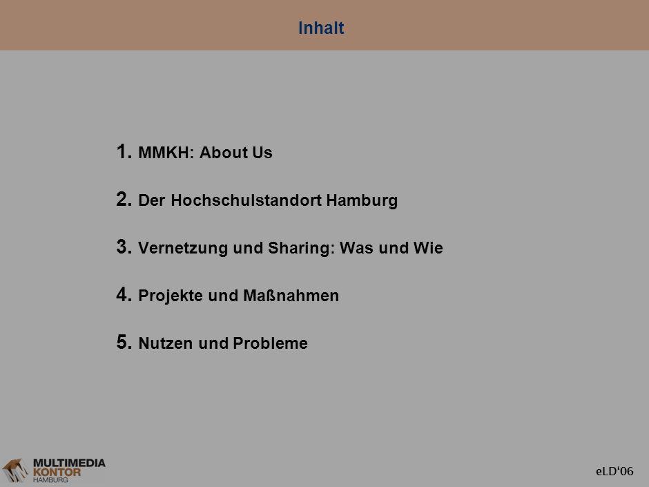 eLD06 Hochschul-Vernetzung und Service- Sharing in Hamburg: Potenziale, Projekte, Probleme Ulrich Schmid eLearning Day 2006, FH Wedel 23.6.2006