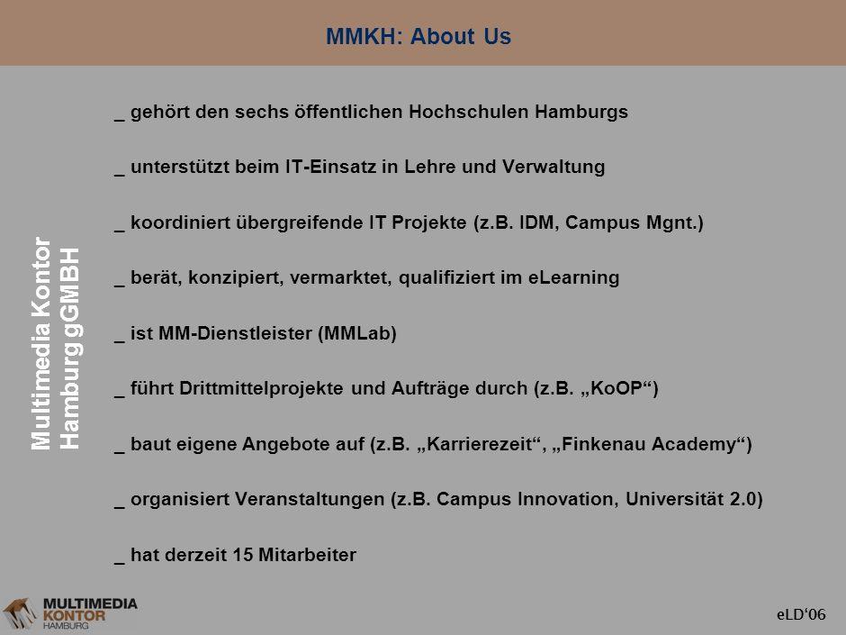 eLD06 Inhalt 1. MMKH: About Us 2. Der Hochschulstandort Hamburg 3. Vernetzung und Sharing: Was und Wie 4. Projekte und Maßnahmen 5. Nutzen und Problem