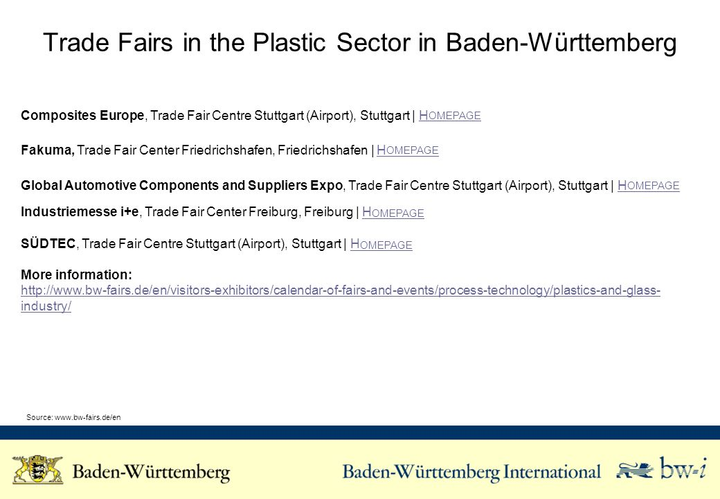 Trade Fairs in the Plastic Sector in Baden-Württemberg Composites Europe, Trade Fair Centre Stuttgart (Airport), Stuttgart | H OMEPAGEH OMEPAGE Fakuma