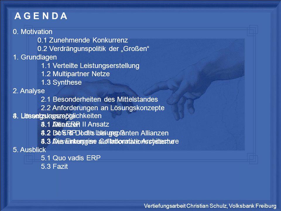 Vertiefungsarbeit Christian Schulz, Volksbank Freiburg Grundlagen Umsetzung Motivation Ausblick Analyse Lösungskonzepte ERP II Architektur Der ERP II Ansatz – die Lösung .