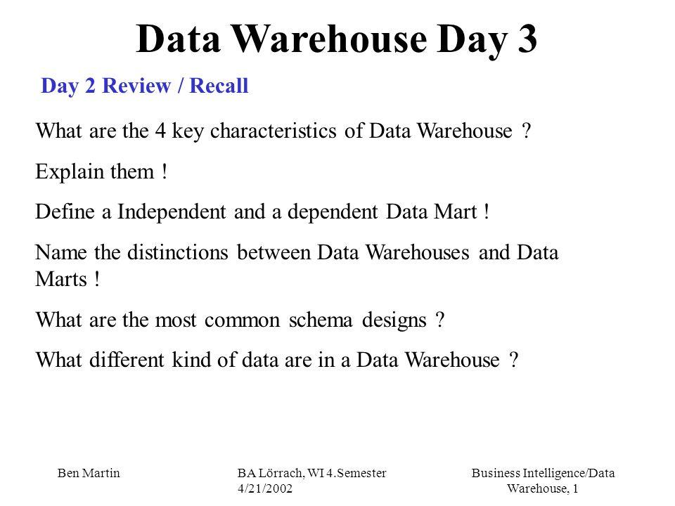 Business Intelligence/Data Warehouse, 32 Ben MartinBA Lörrach, WI 4.Semester 4/21/2002 Data Warehouse and Analysis OLAP - Multidimensionales Datenmodell III Dimension: beschreibt mögliche Sicht auf die assoziierte Kennzahl endliche Menge von Dimensionselementen (Hierarchieobjekten), die eine semantische Beziehung aufweisen dienen der orthogonalen Strukturierung des Datenraums Hierarchien in Dimensionen: einfach und parallel - Examples .