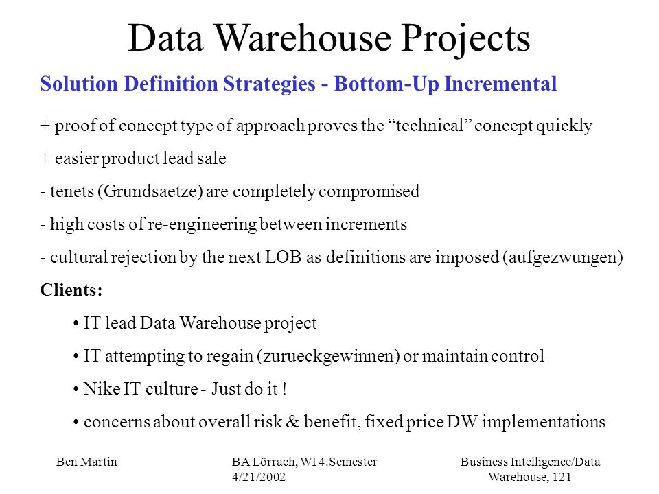 Business Intelligence/Data Warehouse, 121 Ben MartinBA Lörrach, WI 4.Semester 4/21/2002 Data Warehouse Projects Solution Definition Strategies - Botto