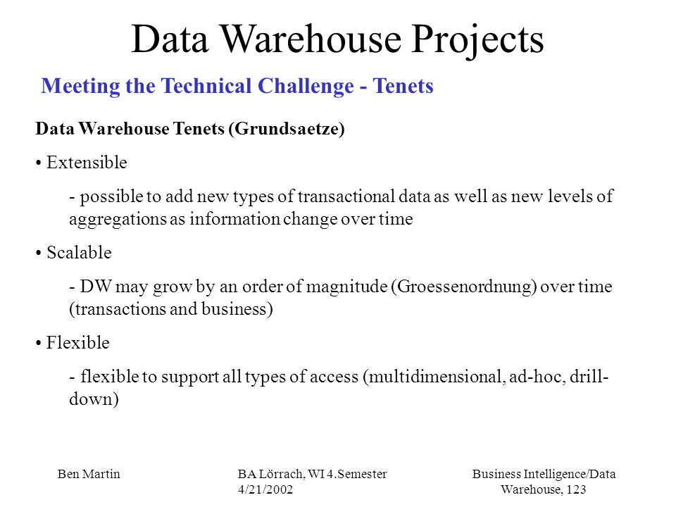 Business Intelligence/Data Warehouse, 123 Ben MartinBA Lörrach, WI 4.Semester 4/21/2002 Data Warehouse Projects Meeting the Technical Challenge - Tene