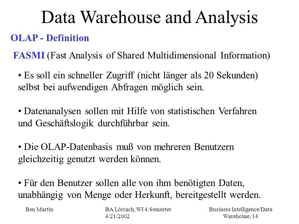 Business Intelligence/Data Warehouse, 14 Ben MartinBA Lörrach, WI 4.Semester 4/21/2002 Es soll ein schneller Zugriff (nicht länger als 20 Sekunden) selbst bei aufwendigen Abfragen möglich sein.