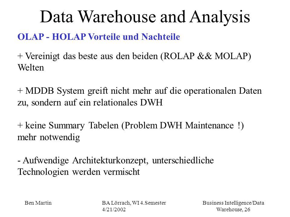 Business Intelligence/Data Warehouse, 26 Ben MartinBA Lörrach, WI 4.Semester 4/21/2002 + Vereinigt das beste aus den beiden (ROLAP && MOLAP) Welten + MDDB System greift nicht mehr auf die operationalen Daten zu, sondern auf ein relationales DWH + keine Summary Tabelen (Problem DWH Maintenance !) mehr notwendig - Aufwendige Architekturkonzept, unterschiedliche Technologien werden vermischt Data Warehouse and Analysis OLAP - HOLAP Vorteile und Nachteile