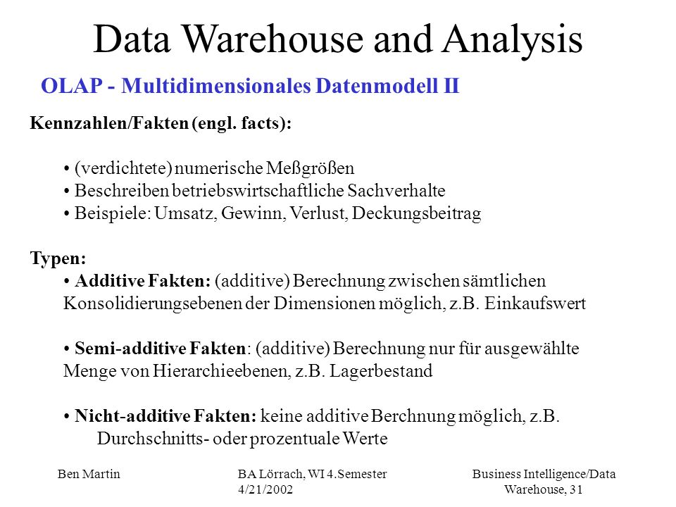 Business Intelligence/Data Warehouse, 31 Ben MartinBA Lörrach, WI 4.Semester 4/21/2002 Data Warehouse and Analysis OLAP - Multidimensionales Datenmode