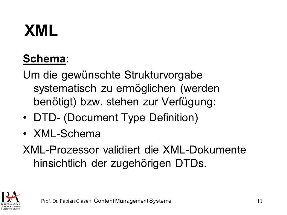 Prof. Dr. Fabian Glasen Content Management Systeme11 XML Schema: Um die gewünschte Strukturvorgabe systematisch zu ermöglichen (werden benötigt) bzw.