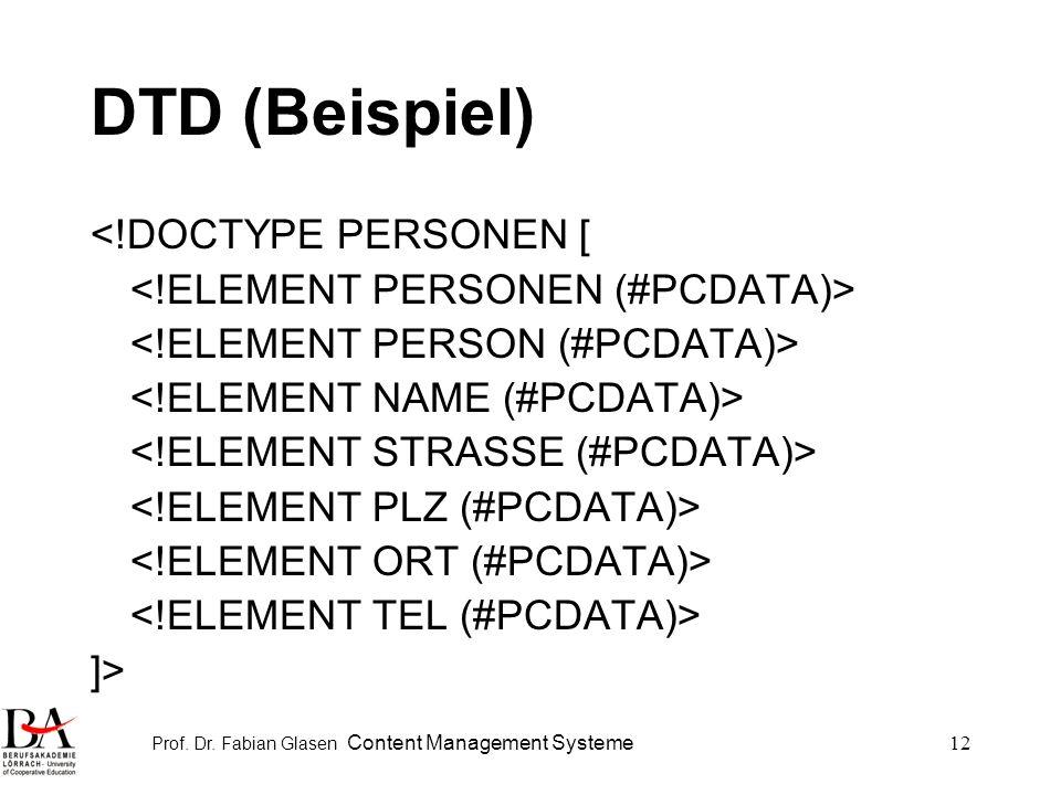 Prof. Dr. Fabian Glasen Content Management Systeme12 DTD (Beispiel) <!DOCTYPE PERSONEN [ ]>