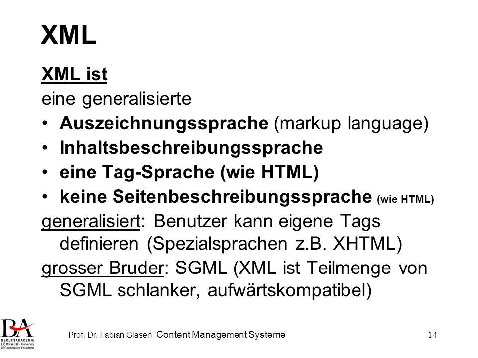 Prof. Dr. Fabian Glasen Content Management Systeme14 XML XML ist eine generalisierte Auszeichnungssprache (markup language) Inhaltsbeschreibungssprach