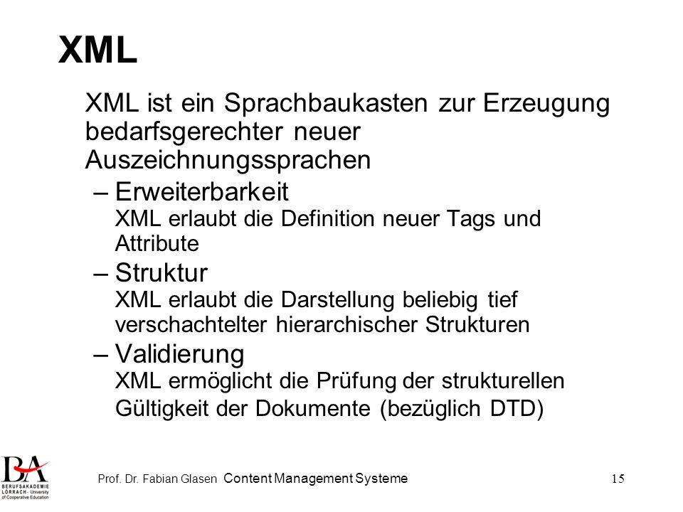 Prof. Dr. Fabian Glasen Content Management Systeme15 XML XML ist ein Sprachbaukasten zur Erzeugung bedarfsgerechter neuer Auszeichnungssprachen –Erwei