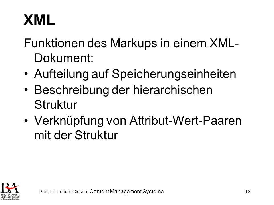 Prof. Dr. Fabian Glasen Content Management Systeme18 XML Funktionen des Markups in einem XML- Dokument: Aufteilung auf Speicherungseinheiten Beschreib