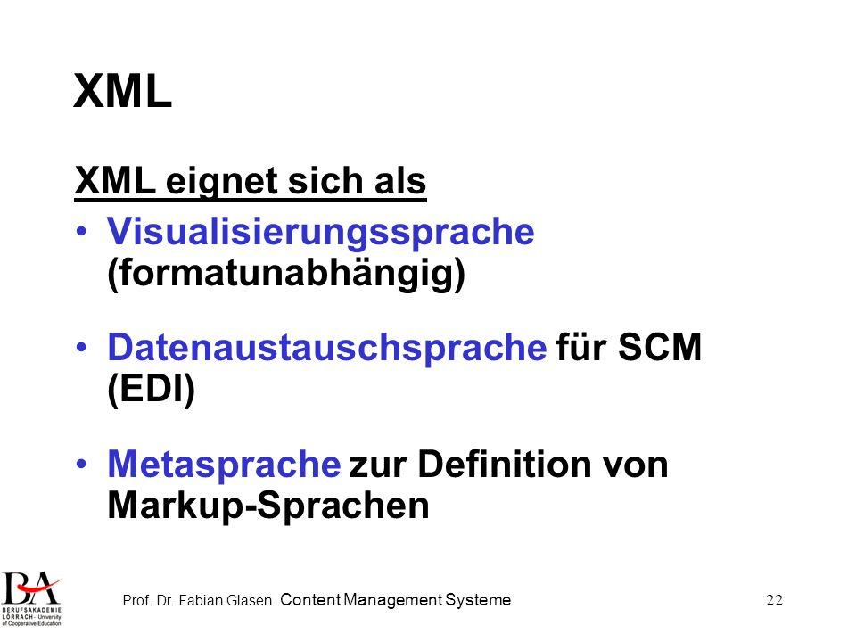 Prof. Dr. Fabian Glasen Content Management Systeme22 XML XML eignet sich als Visualisierungssprache (formatunabhängig) Datenaustauschsprache für SCM (