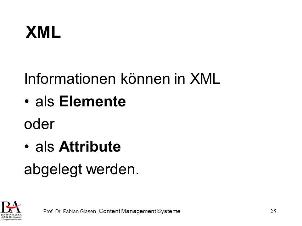 Prof. Dr. Fabian Glasen Content Management Systeme25 XML Informationen können in XML als Elemente oder als Attribute abgelegt werden.