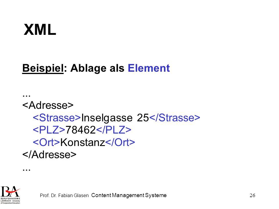 Prof. Dr. Fabian Glasen Content Management Systeme26 XML Beispiel: Ablage als Element... Inselgasse 25 78462 Konstanz...