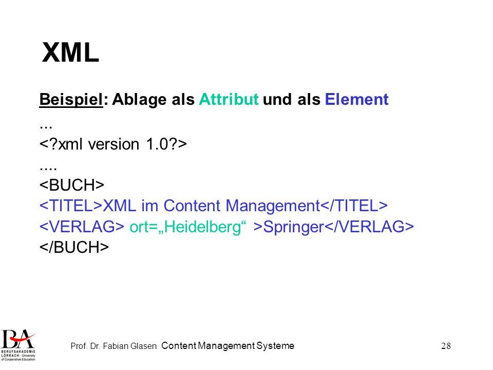Prof. Dr. Fabian Glasen Content Management Systeme28 XML Beispiel: Ablage als Attribut und als Element....... XML im Content Management ort=Heidelberg