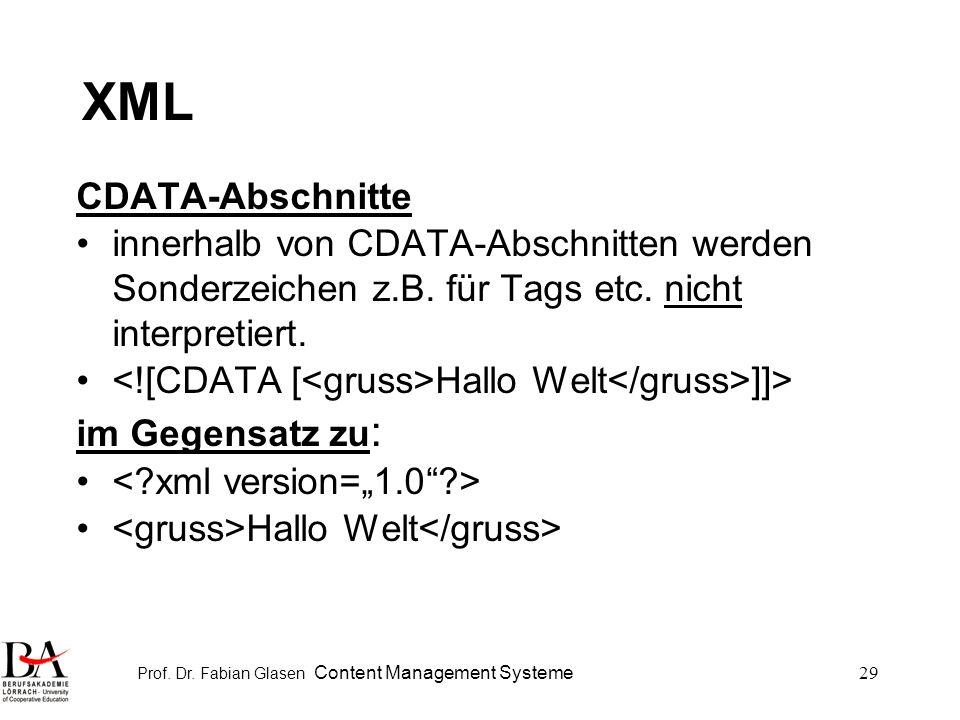 Prof. Dr. Fabian Glasen Content Management Systeme29 XML CDATA-Abschnitte innerhalb von CDATA-Abschnitten werden Sonderzeichen z.B. für Tags etc. nich