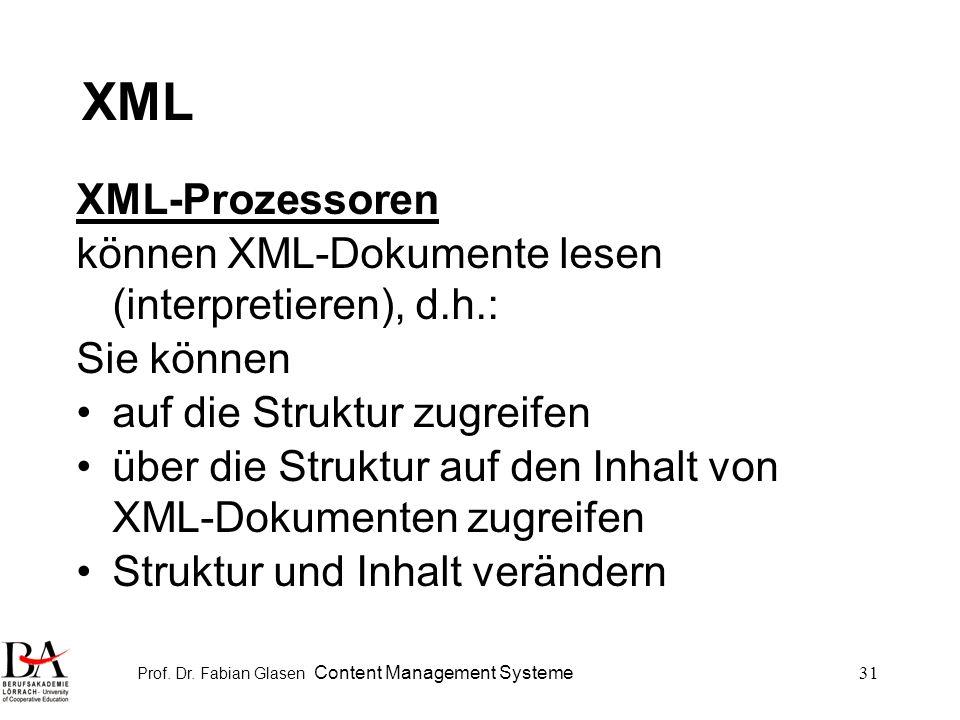 Prof. Dr. Fabian Glasen Content Management Systeme31 XML XML-Prozessoren können XML-Dokumente lesen (interpretieren), d.h.: Sie können auf die Struktu