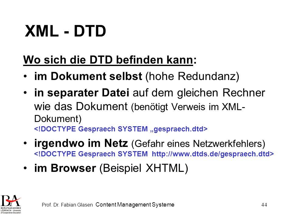 Prof. Dr. Fabian Glasen Content Management Systeme44 XML - DTD Wo sich die DTD befinden kann: im Dokument selbst (hohe Redundanz) in separater Datei a