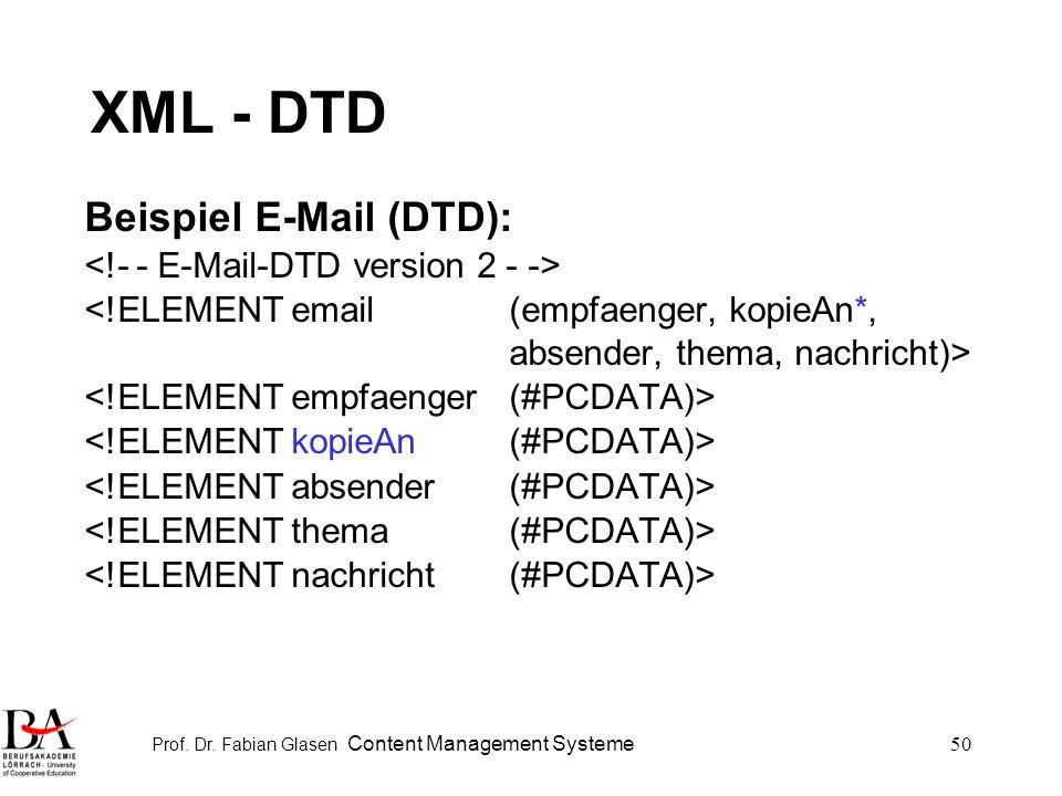 Prof. Dr. Fabian Glasen Content Management Systeme50 XML - DTD Beispiel E-Mail (DTD):