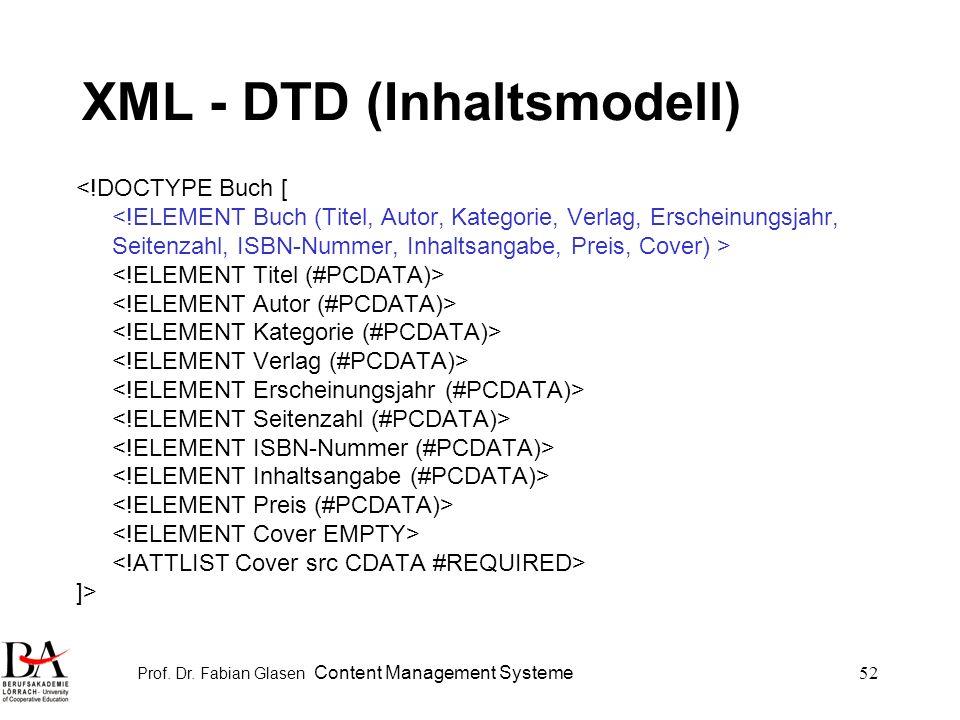 Prof. Dr. Fabian Glasen Content Management Systeme52 XML - DTD (Inhaltsmodell) <!DOCTYPE Buch [ ]>