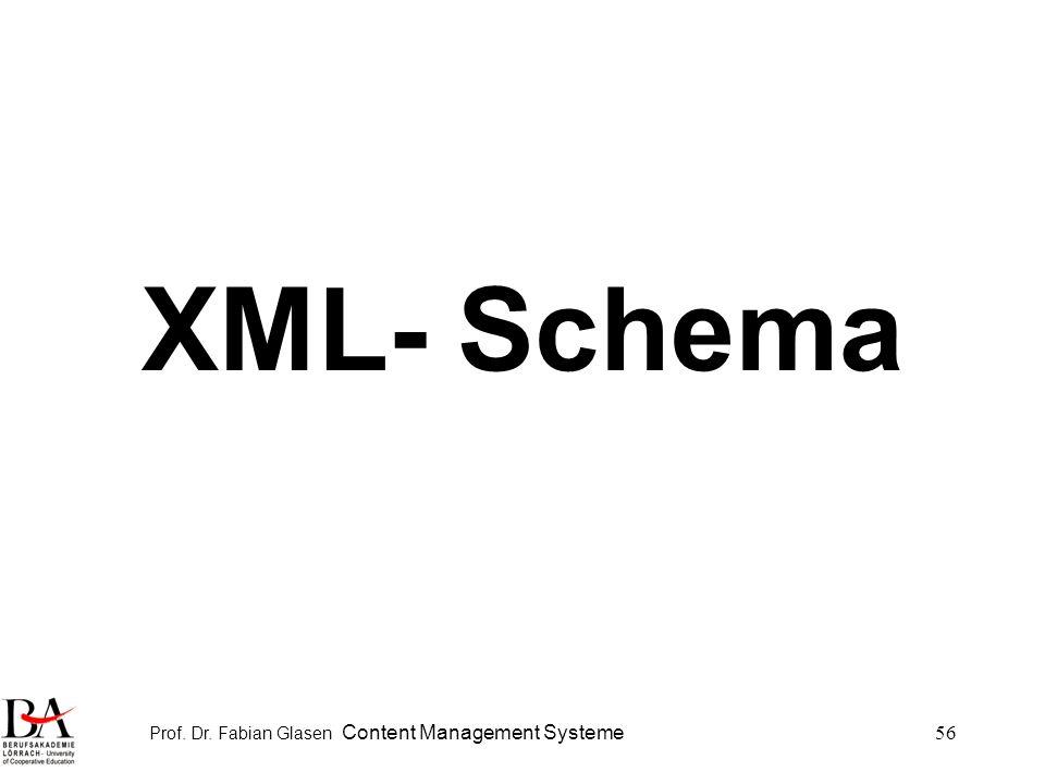 Prof. Dr. Fabian Glasen Content Management Systeme56 XML- Schema