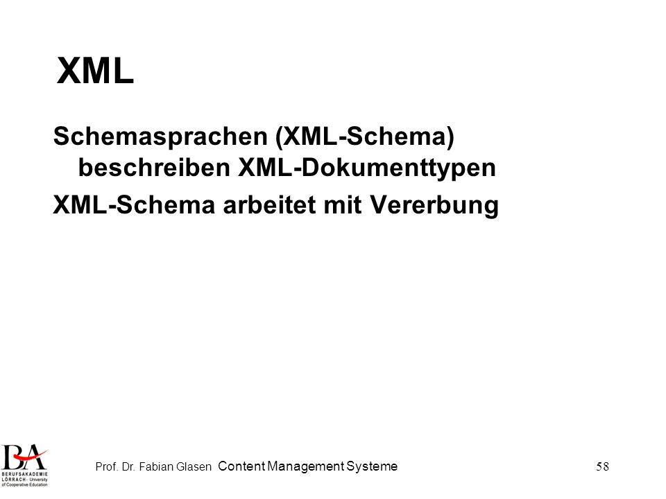 Prof. Dr. Fabian Glasen Content Management Systeme58 XML Schemasprachen (XML-Schema) beschreiben XML-Dokumenttypen XML-Schema arbeitet mit Vererbung