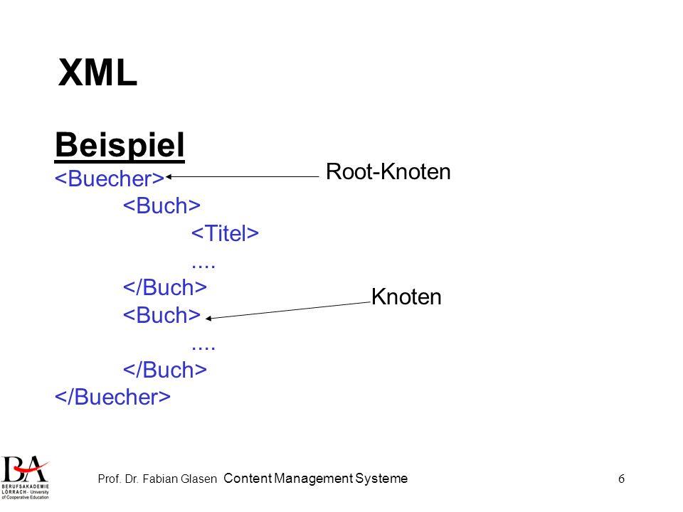 Prof.Dr. Fabian Glasen Content Management Systeme27 XML Beispiel: Ablage als Attribut......