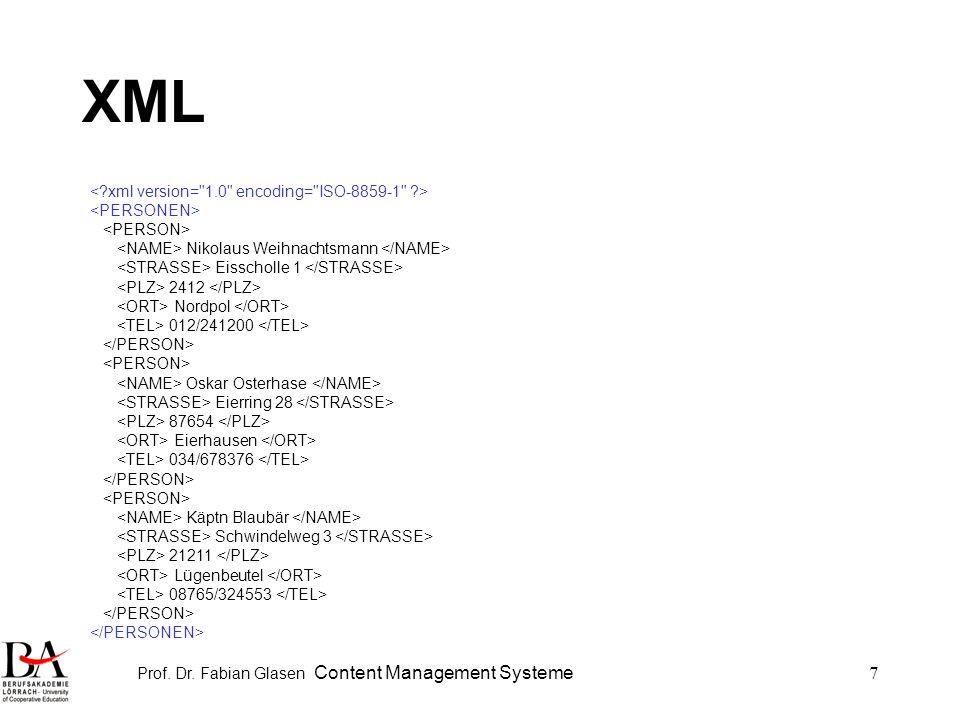 Prof. Dr. Fabian Glasen Content Management Systeme7 XML Nikolaus Weihnachtsmann Eisscholle 1 2412 Nordpol 012/241200 Oskar Osterhase Eierring 28 87654