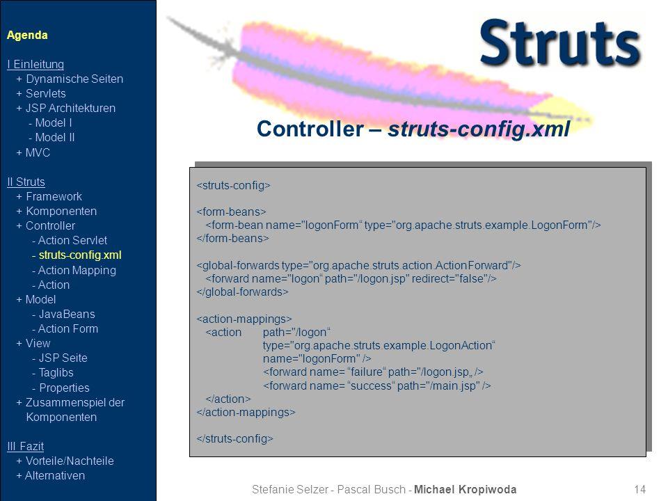 14 Controller – struts-config.xml Stefanie Selzer - Pascal Busch - Michael Kropiwoda Agenda I Einleitung + Dynamische Seiten + Servlets + JSP Architek